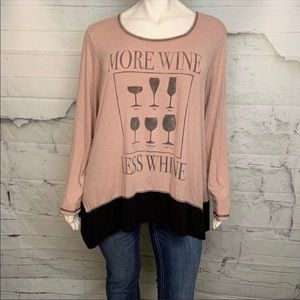 AVENUE 'More Wine Less Whine' long sleeve t-shirt